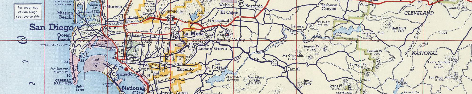segment of San Diego street map 1956